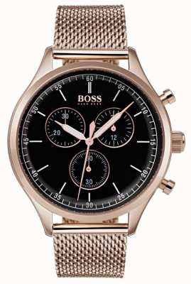 Boss Mens Companion Chronograph Rose Gold Tone Mesh Bracelet 1513548