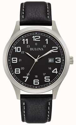 Bulova Mens Dress Watch Black Leather Steel Case 96B276