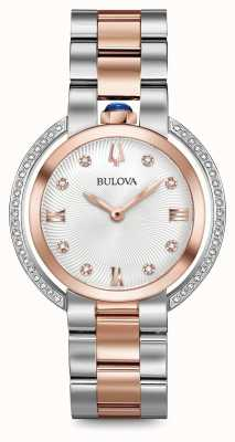 Bulova Womans Rubaiyat Two Tone Diamond Watch 98R247