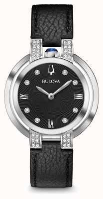 Bulova Womans Rubaiyat Black Leather Strap Diamond Set 96R217
