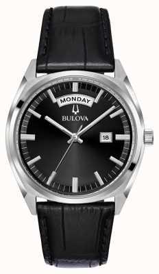 Bulova Mens Black Leather Dress Watch 96C128