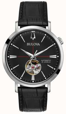 Bulova Men Automatic Black Leather Watch 96A201