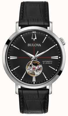 Bulova Men Automatic Black Leather Watch 96A201