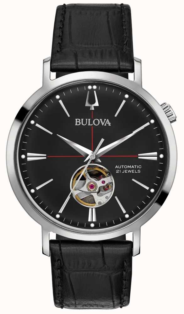 9fa3eea6d Bulova Men Automatic Black Leather Watch 96A201 - First Class Watches™