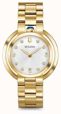 Bulova Womans Rubaiyat Gold Tone Diamond Watch 97P125