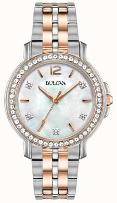 Bulova Womans Two Tone Crystal Watch 98L242