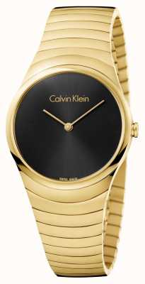 Calvin Klein Womans Gold Tone Stainless Steel Whirl Watch K8A23541