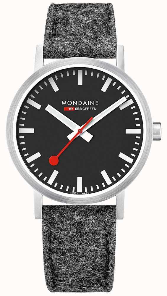 Mondaine Unisex Swiss Railways Classic Dark Grey Felt Leather Strap ... d771c4760a