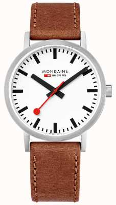 Mondaine Unisex Swiss Railways Classic Brown Leather Strap A660.30360.16SBT