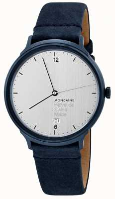 Mondaine Mens Hevetica No. 1 Light Blue Velour Strap MH1.L2210.LD