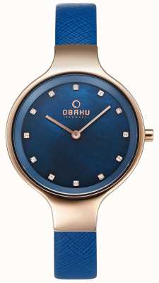 Obaku Womans Sky Navy and Rose Gold Watch V173LXVLRA