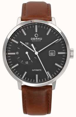 Obaku Mens Utrolig Automatic Leather Strap Watch v210GTCBRN