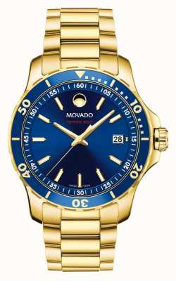 Movado Series 800 Blue dial Gold plated 2600144