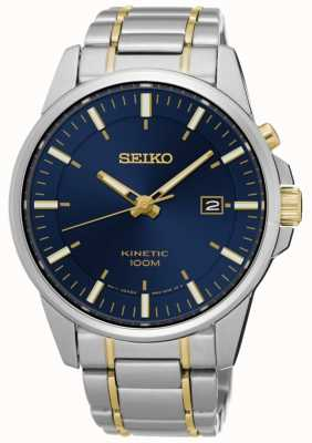 Seiko Mens Kinetic Two Tone Bracelet Blue Dial SKA757P1