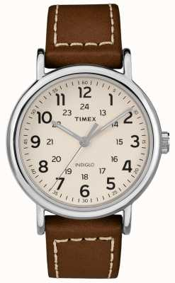 Timex Mens Weekender Brown Leather Strap White Dial TW2R42400D7PF