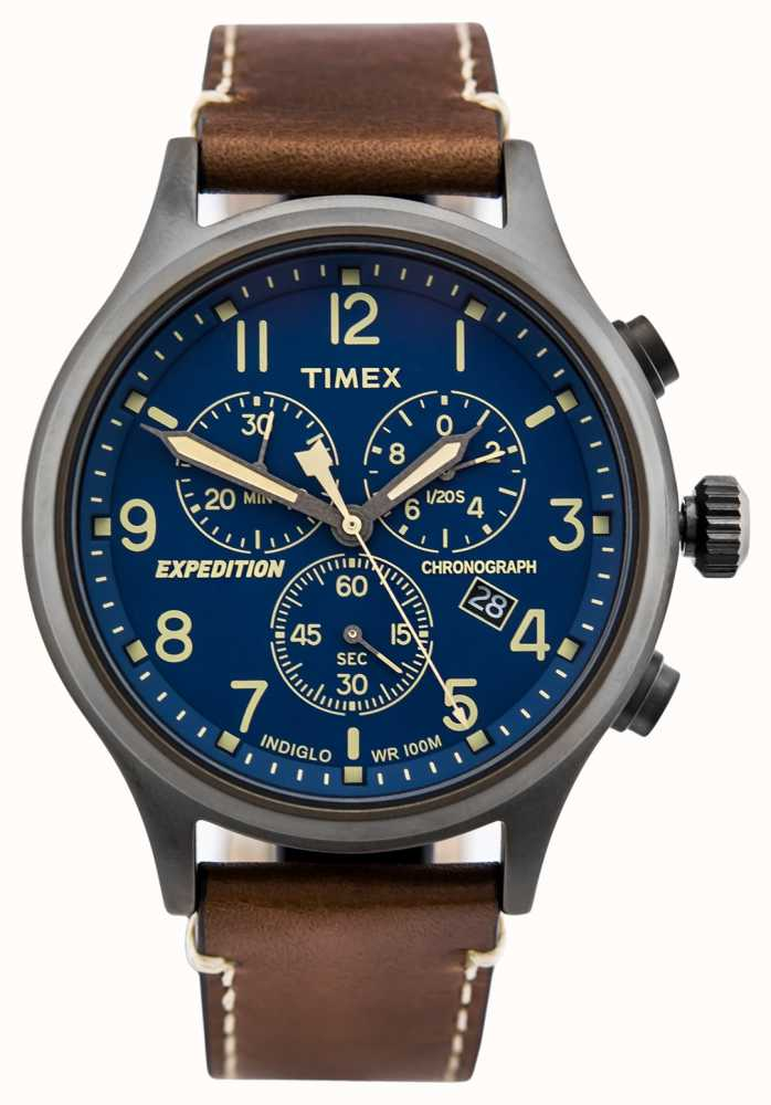 38fddc4e9996 Timex Expedition Scout Chronograph Brown Strap Blue Dial TW4B09000D ...