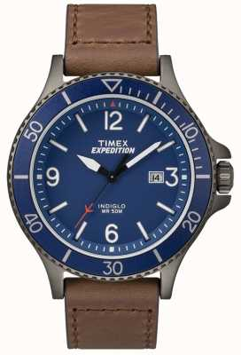 Timex Expedition Ranger Brown Leather Strap Blue Dial TW4B10700
