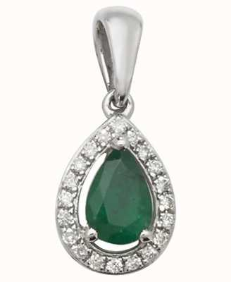 James Moore TH 9ct White Gold Emerald And Diamond Pendant Only PD239WE