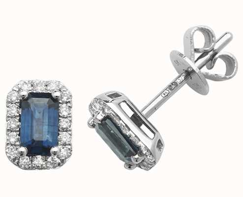 Treasure House 9k White Gold Octagon Sapphire Diamond Stud Earrings ED251WS