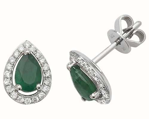 James Moore TH 9k White Gold Teardrop Diamond Emerald Halo Stud Earrings ED248WE