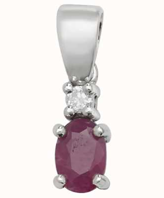 James Moore TH 9ct White Gold Ruby And Diamond  Pendant Only PD240WR