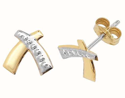 James Moore TH 9k Yellow and White Gold Criss Cross Studs Earrings ES308