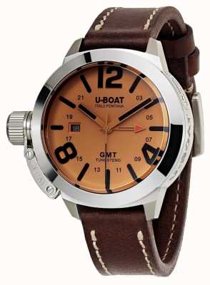 U-Boat Classico 45 GMT BE Leather Watch Automatic brown leather 8051