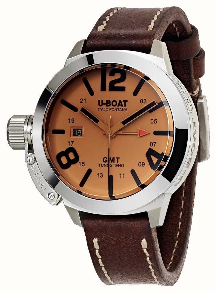3288ed4fa820 U-Boat Classico 45 GMT BE Leather Watch Automatic Brown Leather 8051 ...