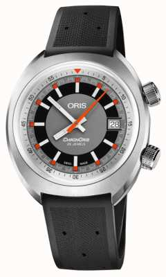 Oris Chronoris Date Grey Dial Black Rubber Strap 01 733 7737 4053-07 4 19 01FC
