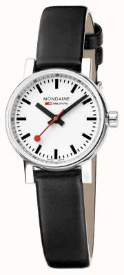 Mondaine Evo2 Petite Sapphire Crystal Black Leather Strap White Dial MSE.26110.LB