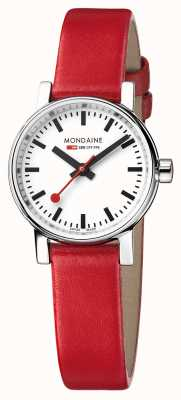 Mondaine Evo2 Petite Sapphire Crystal Red Leather Strap White Dial MSE.26110.LC