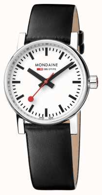Mondaine Evo2 30mm Sapphire Crystal Black Leather Strap White Dial MSE.30110.LB