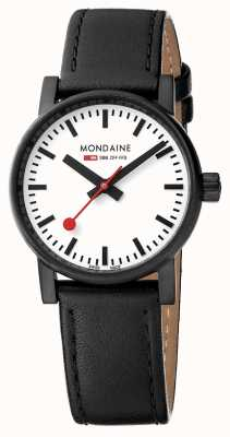 Mondaine Evo2 30mm Sapphire Crystal Black Leather Strap White Dial MSE.30111.LB