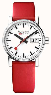 Mondaine Evo2 30mm Big Date Red Leather Strap White Dial MSE.30210.LC
