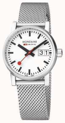 Mondaine Evo2 30mm Sapphire Crystal Stainless Steel Mesh White Dial MSE.30210.SM