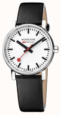 Mondaine Evo2 35mm Sapphire Crystal Black Leather Strap White Dial MSE.35110.LB