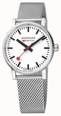 Mondaine Evo2 35mm Sapphire Crystal Stainless Steel Mesh White Dial MSE.35110.SM