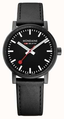 Mondaine Evo2 35mm Sapphire Crystal Black Leather Strap Black Dial MSE.35121.LB