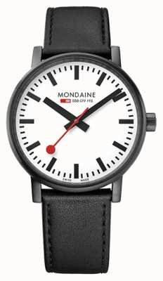 Mondaine Evo2 40mm Sapphire Crystal Black Leather Strap White Dial MSE.40111.LB