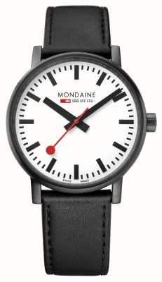 Mondaine Evo2 40mm Black Leather Strap Black IP Watch MSE.40111.LB