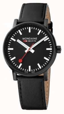 Mondaine Evo2 40mm Sapphire Crystal Black Leather Strap Black Dial MSE.40121.LB