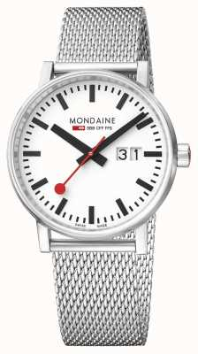 Mondaine Evo2 40mm Sapphire Crystal Stainless Steel Mesh White Dial MSE.40210.SM