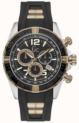 Gc Mens Sportracer Silver Black Chronograph Watch Y02011G2