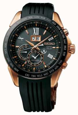 Seiko Astron GPS Black Rubber Rose Gold Plated Case SSE153J1