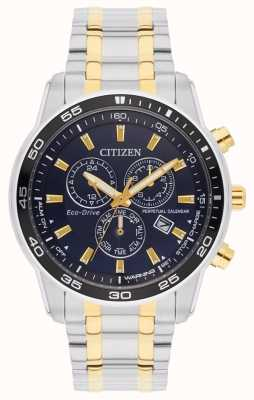 Citizen Eco-Drive Two Tone Black Dial Mens Bracelet BL5514-53L