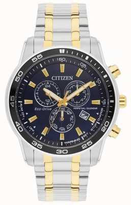 Citizen Mens | Eco-Drive | Stainless Steel & Gold IP Blue Dial Watch BL5514-53L