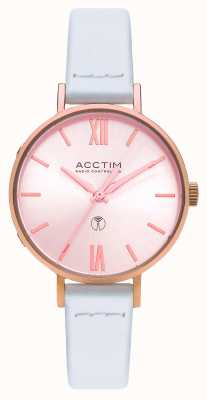 Acctim Womens Bonny Radio Controlled White Leather Watch 60520