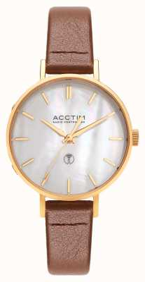 Acctim Womens Bonny Radio Controlled Brown Leather Strap 60516