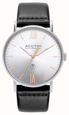 Acctim Mens Sterling Radio Controlled Black Leather Watch 60413