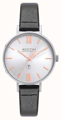 Acctim Womens Bonny Radio Controlled Black Leather Watch 60527
